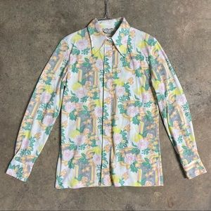 Vintage 70s Floral Pastel Disco Collar Shirt Top